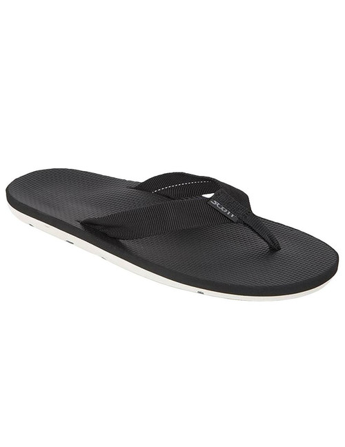 White Outsole Black Sandal for Men Hokulea Scott Hawaii All rubber boat outsole with molded arch Textured Rubalon insole with heel cup Tubular nylon strap Color: Black Sizes: 7 - 13 Imported