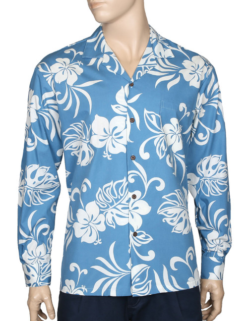 Long Sleeves Hawaiian Shirt Tropical Resort Kaimana 100% Cotton Fabric Genuine Coconut Buttons Left Pocket Matching Fabric Color: Blue Sizes: M - 2XL Care: Machine Wash Cold, Cool Iron Made in Hawaii - USA