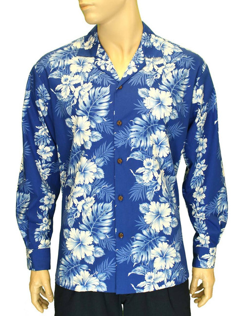 Long Sleeves Cotton Hawaiian Shirt Royal Blue Haaku Laape  100% Cotton Fabric Genuine Coconut Buttons Left Pocket Matching Fabric Color: Royal Blue Sizes: M - 2XL Care: Hand wash cold. Do not bleach. Line dry Made in Hawaii - USA