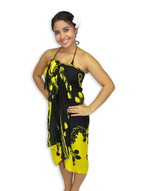"Aloha Sarong with Black-Yellow Plumeria This Aloha Sarong has a Black/Yellow Plumeria Design 100% Rayon Color: Black/Yellow Size: 62"" X 46"" inches (157.48 X 116.84 Centimeters)"