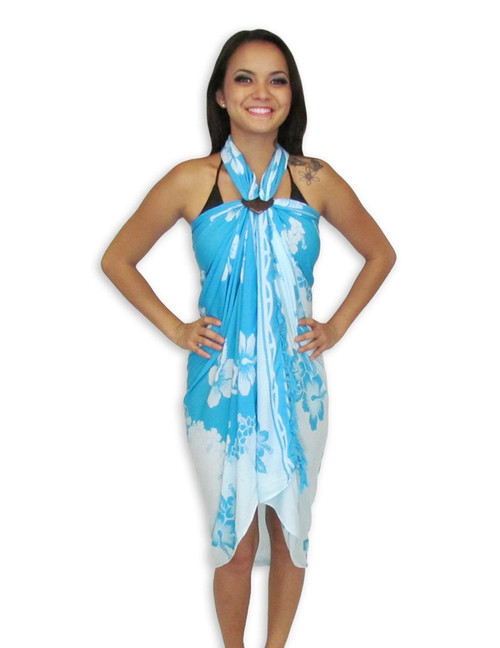"Hawaiian Hibiscus Sarong - Light Blue Cool beach sarong cover up to go over your bathing suit, blanket, or even as a quick towel 100% Rayon Fabric Side to Side Fringes Color: Light Blue Size: 62"" X 46"" inches (157.48 X 116.84 Centimeters)"
