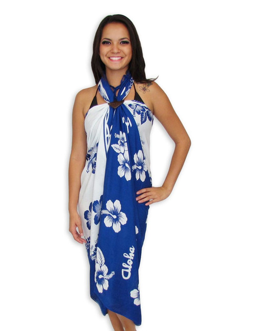 "Aloha Navy/White Rayon Sarong From Hawaii with Love! Beautifully Hawaiian Sarong with a Hibiscus Print 100% Rayon Color: Navy/White Size: 62"" X 46"" inches (157.48 X 116.84 Centimeters)"