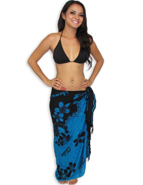 "Plumeria Aqua Black Tropical Sarong Sarong with a Hot Aqua/Black Plumeria Style 100% Rayon Color: Aqua/Black Size: 62"" X 46"" inches (157.48 X 116.84 Centimeters)"