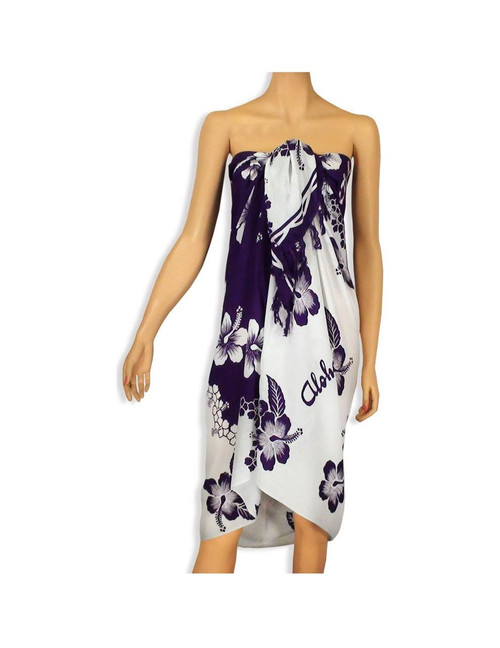 """Sarong with a Hibiscus White and Purple Style 100% Rayon Color: White/Purple Size: 62"""" X 46"""" inches (157.48 X 116.84 Centimeters)"""