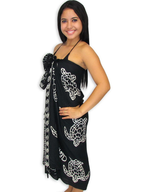 Rayon Beach Sarong Cover Up Black Honu 100% Soft Rayon Fabric Beach / Pool Pareo Cover Up Braided Fringes on Ends Color: Black Size: 62 x 46 inches (157.48 X 116.84 Centimeters)