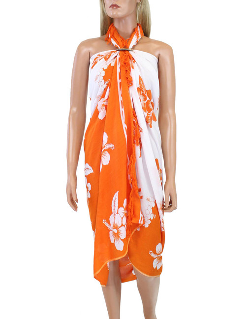 Hibiscus Flower Soft Rayon Orange Cover Up Sarong 100% Soft Rayon Fabric Beach / Pool Pareo Cover Up Braided Fringes on Ends Color: Orange Size: 62 x 46 inches (157.48 X 116.84 Centimeters)