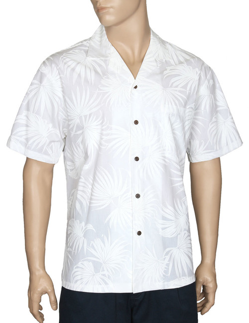 Napili Wedding Aloha White Shirt 100% Cotton - Versatile and Cool Open Collar - Relaxed Modern Fit Coconut shell buttons - Matching left pocket Color: White Sizes: S - 3XL Made in Hawaii - USA