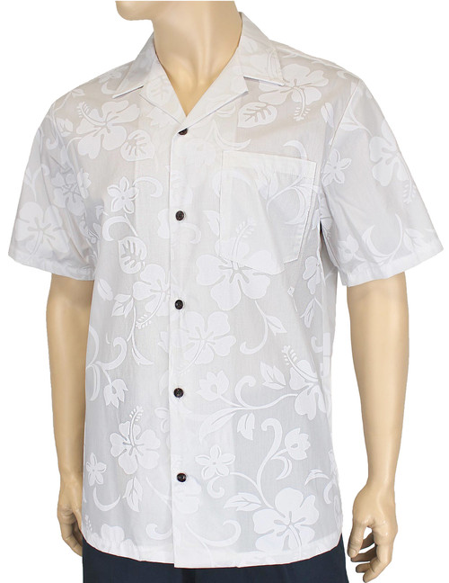 Kaneohe Hawaiian White Hibiscus Shirt 100% Cotton Fabric Open Pointed Folded Collar Genuine Coconut Buttons Seamless Matching Left Pocket Color: White Sizes: S - 4XL Care: Machine Wash Cold, Cool Iron Made in Hawaii - USA