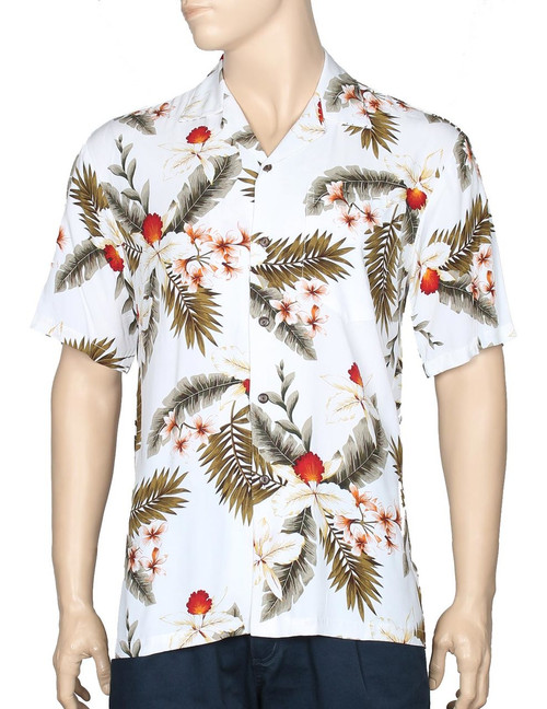 Hibiscus Tropical Rayon Shirt White 100% Rayon - Soft and Classy Open Collar - Relaxed Modern Fit Coconut shell buttons - Matching left pocket Color: White Sizes: S - 4XL Made in Hawaii - USA