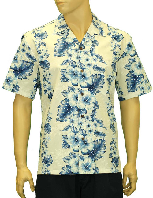 Imipono Cotton Hawaiian Shirt Pacific Panel 100% Cotton Fabric Open Pointed Folded Collar Genuine Coconut Buttons Seamless Matching Left Pocket Color: White Sizes: S - 3XL Care: Machine Wash Cold, Cool Iron Made in Hawaii - USA