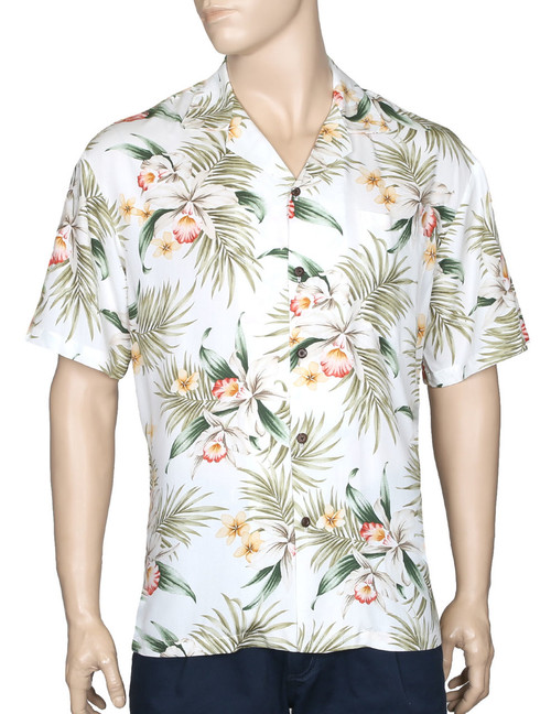 Classic Orchids Rayon Aloha Shirt 100% Rayon Fabric - Soft and Classy Open Collar - Relaxed Modern Fit Coconut Shell Buttons - Seamless Matching left pocket Color: White Sizes: S - 3XL Made in Hawaii - USA