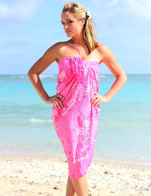 "Hot Pink Rayon Sarong Beach Cover Up – Honu  White Turtle Design 100% Rayon Fabric Waist wrap and Top wrap Tie Accessory Available Color: Pink Size: 62"" X 46"" inches (157.48 X 116.84 Centimeters)"