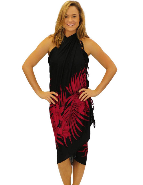 "Black Red Soft Rayon Sarong Cover up Plumeria Magic 100% Rayon Fabric Color: Black-Red Size: 62"" X 46"" inches (157.48 X 116.84 Centimeters)"