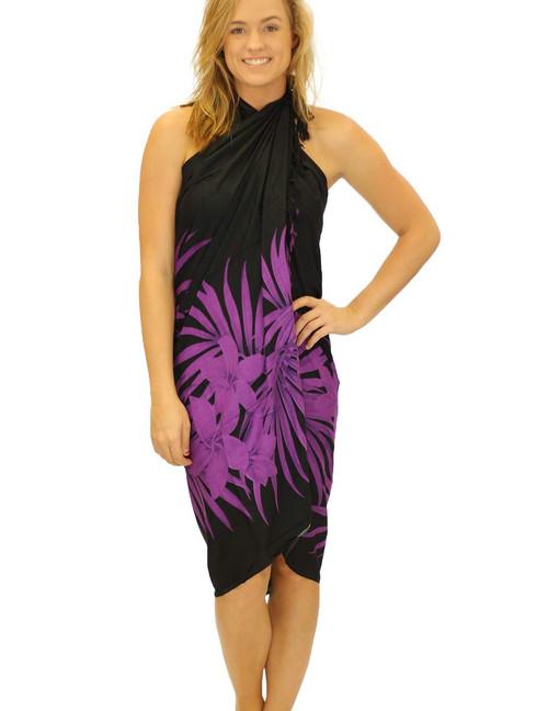 9d33e90c236c4 Black Purple Soft Rayon Sarong Cover up Plumeria Magic 100% Soft Rayon  Fabric Beach