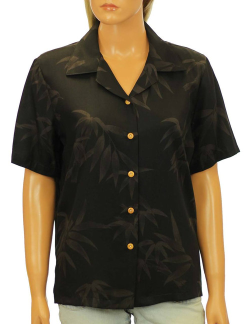 Rayon Black Blouse Bamboo Camp Style Relaxed Camp Blouse 100% Rayon Fabric Short Sleeves Wooden Buttons Color: Black Sizes: XS - 2XL Made in Hawaii - USA