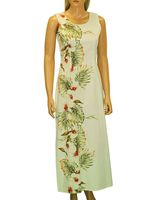 """Long Hawaiian Dress Side Floral Hilo Design Long Maxi Tank style 100% Cotton Fabric 2 Slits - 19"""" Long on Both Sides Back Zipper Color: White Sizes: S - 2XL Made in Hawaii - USA"""