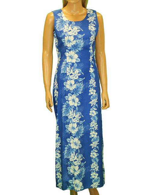 "Long Tank Hawaiian Royal Blue Dress Haku Laape 100% Cotton Fabric 2 Slits - 19"" Long on Both Sides Color: Royal Blue Sizes: S - 2XL Made in Hawaii - USA Matching Items Available"