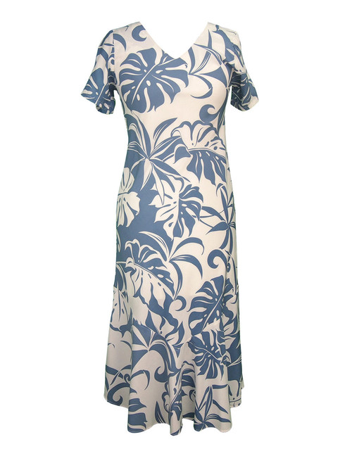 Makena Tea Length V-Neck Cap Sleeves Dress 100% Rayon Fabric Tea Length Cap Sleeves Bias Cut V-Neck Design Mid Calf Length Comfortable Style Color: Blue Sizes: XS - 2XL Made in Hawaii - USA