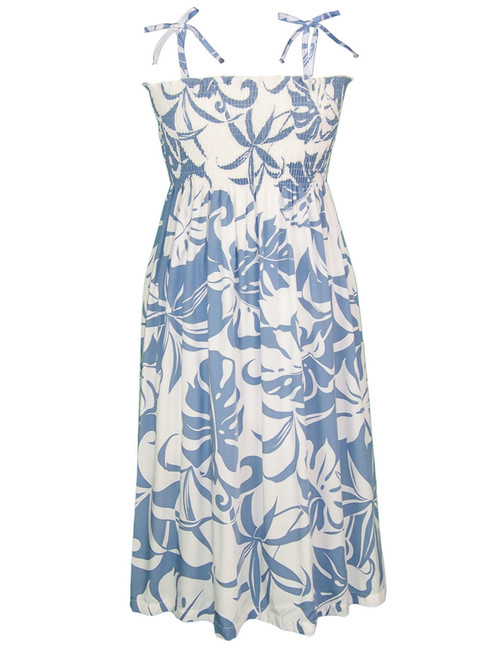 Makena Smock Rayon Midi Dress 100% Rayon Fabric Smocked Tube Top Design Knee Length Dress Tie On Shoulder or Halter Style Wear Strapless Option Color: Blue Sizes: XS - XL Made in Hawaii - USA