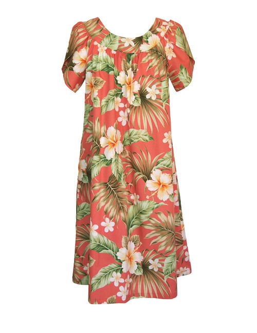 Pull Over Muumuu Hibiscus Plumeria 100% Cotton Fabric Comfortable Fit - Short Muumuu Style Petal Sleeves - Pull Over Dress Single Side Pocket Colors: Coral Sizes: S - 3XL Made in Hawaii - USA