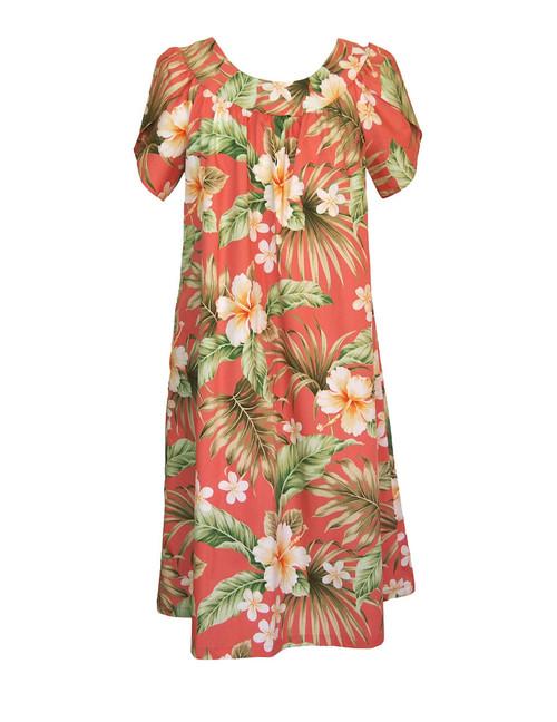 Pull Over Muumuu Hibiscus Plumeria 100% Cotton Fabric Comfortable Fit - Short Muumuu Style Petal Sleeves - Pull Over Dress Single Side Pocket Colors: Coral Sizes: S - 3XL Made in Hawaii - USA