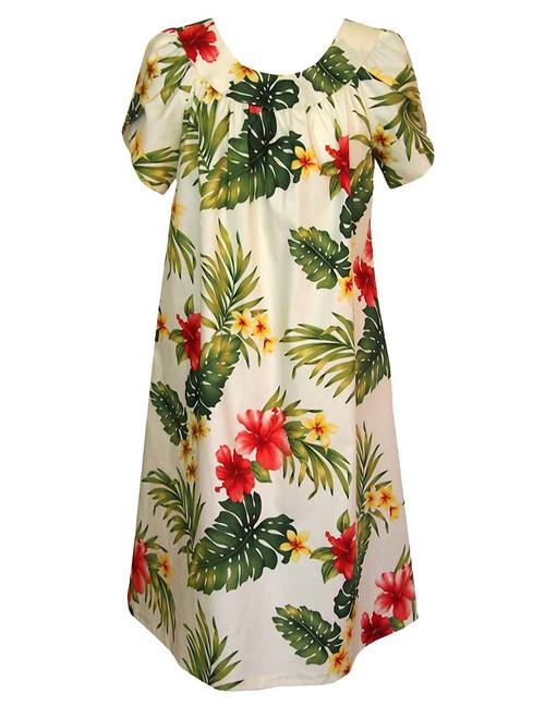 Puunene Pull Over Muumuu Dress 100% Cotton Mid-Length Muumuu Color: Beige Sizes: S - 3XL Petal Sleeve MuuMuu Comfortable Fit Pull Over Dress Single Side Pocket Made in Hawaii - USA