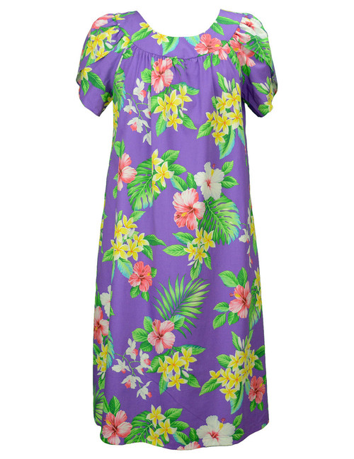 Hawaiian Muumuu Dress Pull Over Pink Hibiscus 100% Cotton Mid-Length Muumuu Color: Purple Sizes: S - 3XL Petal Sleeve MuuMuu Comfortable Fit Pull Over Dress Single Side Pocket Made in Hawaii - USA