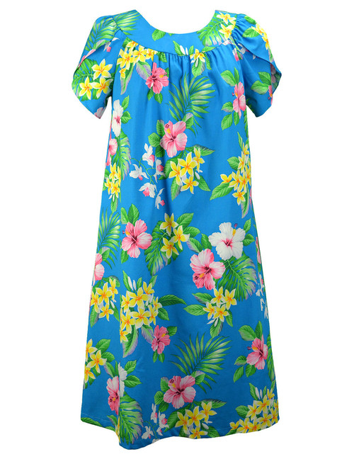 Hawaiian Muumuu Dress Pull Over Pink Hibiscus 100% Cotton Mid-Length Muumuu Color: Blue Sizes: S - 3XL Petal Sleeve MuuMuu Comfortable Fit Pull Over Dress Single Side Pocket Made in Hawaii - USA