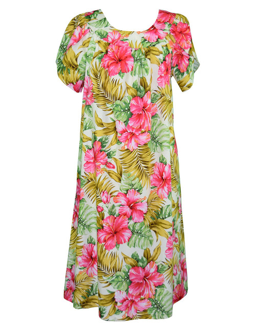 Soft Hibiscus Pull Over Muumuu Dress 100% Cotton Fabric Mid-Length Muumuu Color: Beige Sizes: S - 3XL Petal Sleeve MuuMuu Pull Over Style - Comfortable Fit Single Side Pocket Made in Hawaii - USA