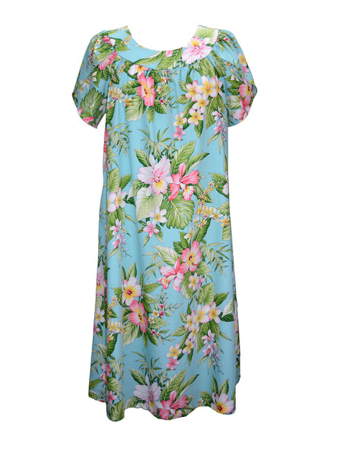 Floral Pull Over Muumuu Mauna Loa 100% Cotton Fabric Petal Sleeves - Comfortable Fit Pull Over Dress - Single Side Pocket Color: Aqua Sizes: S - 3XL Made in Hawaii - USA