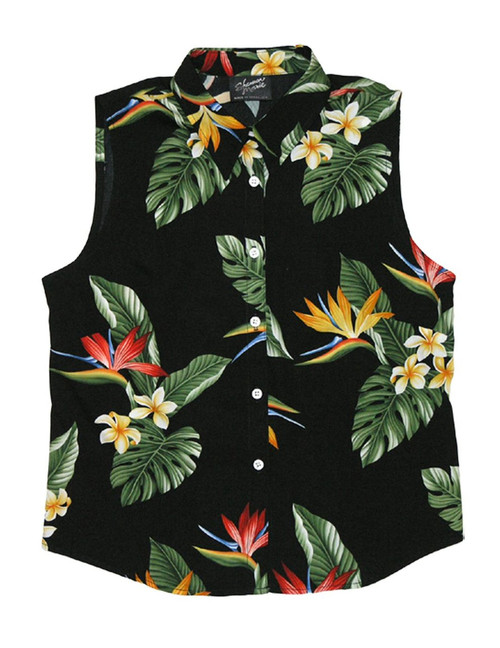 Birds of Paradise Sleeveless Tank Blouse 100% Rayon Soft Fabric Collar Tank Top Blouse Curved Hemline Colors: Black Sizes: XS - 3XL Made in Hawaii - USA