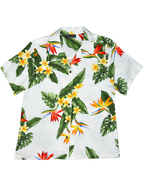 Birds of Paradise Camp Shirt for Women Relaxed Fit Camp Blouse 100% Rayon Soft Fabric Short Sleeves Genuine Coconut Buttons Color: White Sizes: XS - 3XL Made in Hawaii - USA