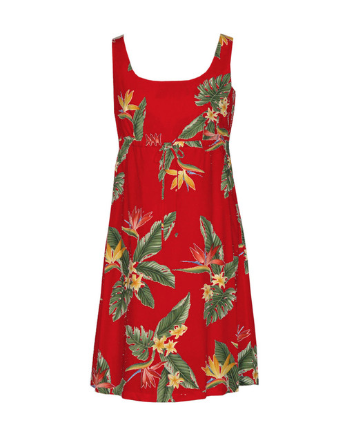 Birds of Paradise Adjustable Front Tie Dress 100% Rayon Front String Tie Easy Adjustable Fit Square Neck Design Empire Drawstring Look Color: Red Sizes: XS - 3XL Made in Hawaii - USA