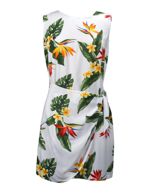 Birds of Paradise Short Summer Sarong Rayon Dress 100% Rayon Fabric Back Zipper Tummy Concealing Front Panel Waist Adjustable Side Tie Color: White Sizes: XS - 2XL Made in Hawaii - USA