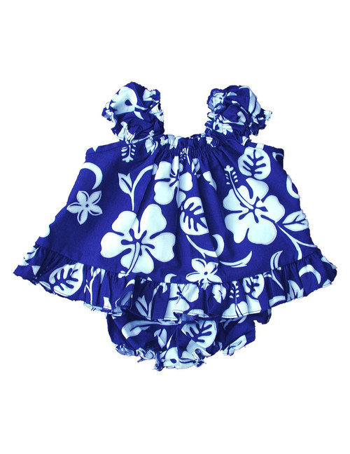 2 Piece Baby Girl Capri Set Classic Hibiscus Includes a Comfortable Top and Matching Bottom Diaper Cover 100% Cotton Fabric Color: Royal Sizes: 6 - 24 months Made in Hawaii - USA