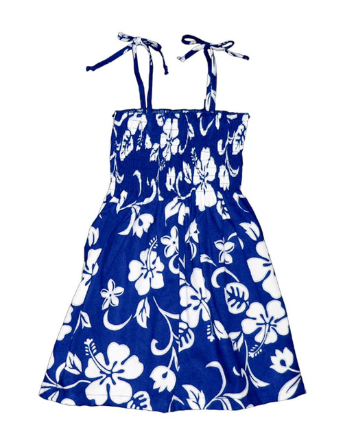 Smock Dress for Girls Classic Hibiscus 100% Rayon Fabric Tie On Shoulder Tie Halter Style Color: Royal Sizes: 2 - 14 Made in Hawaii - USA