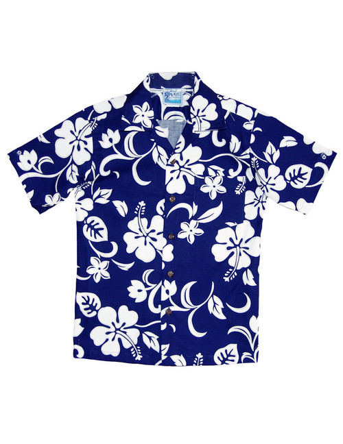 Boy's Aloha Shirt Classic Hibiscus 100% Cotton Fabric Open Pointed Folded Collar Genuine Coconut Buttons Machine Wash Cold Cool Iron Color: Royal Sizes: 2 - 16 Made in Hawaii - USA