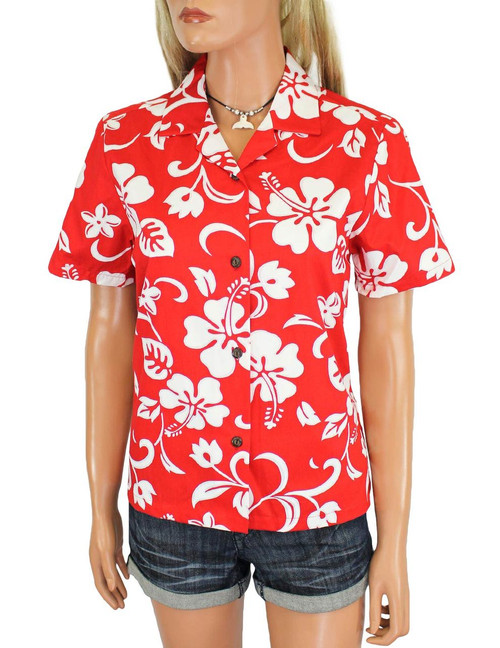 Women Camp Hawaiian Shirt Classic Hibiscus 100% Cotton Fabric Short Sleeves Comfortable Fit Design Coconut Shell Buttons Multi Color Selection Color: Red Sizes: XS - 3XL Made in Hawaii - USA