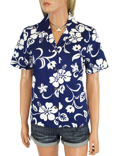 Women Camp Hawaiian Shirt Classic Hibiscus 100% Cotton Fabric Short Sleeves Comfortable Fit Design Coconut Shell Buttons Multi Color Selection Color: Royal Sizes: XS - 3XL Made in Hawaii - USA