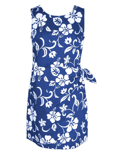Women's Sarong Short Dress Classic Hibiscus 100% Cotton Fabric Back Zipper Tummy Concealing Front Panel Waist Adjustable Side Tie Machine Wash Cold Color: Royal Sizes: XS-2XL Made in Hawaii - USA