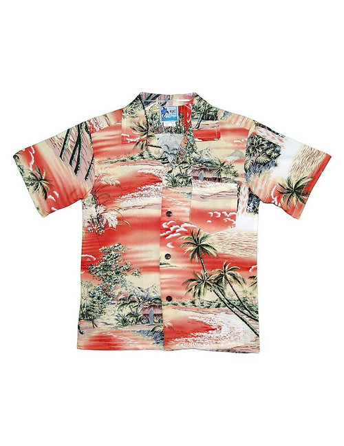 Boy's Aloha Shirt Island Paradise 100% Rayon Fabric Open Pointed Folded Collar Genuine Coconut Buttons Machine Wash Cold Cool Iron Color: Orange Sizes: 2 - 14 Made in Hawaii - USA