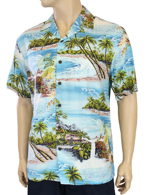 Island Paradise Men's Tropical Rayon Shirt 100% Rayon Fabric Open Pointed Folded Collar Genuine Coconut Buttons Seamless Matching Left Pocket Color: Blue Sizes: S - 3XL Care: Machine Wash Cold, Cool Iron Made in Hawaii - USA