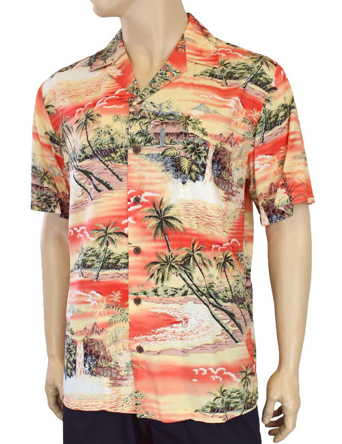 e0df0e56 ... Island Paradise Men's Tropical Rayon Shirt 100% Rayon Fabric Open  Pointed Folded Collar Genuine Coconut
