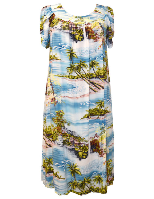 Muumuu Pull Over Island Paradise 100% Rayon Fabric Petal Sleeves - Comfortable Fit Pull Over Dress - Single Side Pocket Colors: Blue Sizes: S - 3XL Made in Hawaii - USA