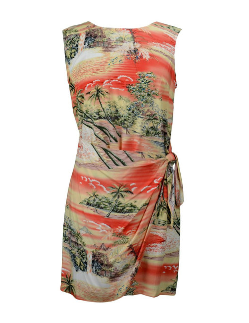 Island Paradise Short Sarong Rayon Dress 100% Rayon Fabric Back Zipper Tummy Concealing Front Panel Waist Adjustable Side Tie Color: Orange Sizes: XS-2XL Made in Hawaii - USA