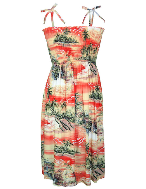 Knee Length Smock Aloha Dress Island Paradise 100% Rayon Fabric Smocked Tube Top Design Knee Length Dress Tie On Shoulder or Halter Style Wear Strapless Option Color: Orange Sizes: XS - XL Made in Hawaii - USA