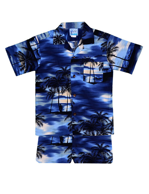 Island Sunrise Toddler Boys  Clothes 2 Piece Set 2 Piece Set - Shirt and Shorts 100% Cotton Fabric Genuine Coconut Buttons Short's Elastic Waist Matching Fabric Design Color: Blue Sizes: 1T, 2T, 4T, 6T Made in Hawaii - USA