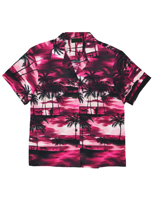 Island Sunrise Women Camp Shirt 100% Cotton Fabric Short Sleeves Comfortable Fit Design Coconut Shell Buttons Multi Color Selection Color: Pink Sizes: XS - 3XL Made in Hawaii - USA