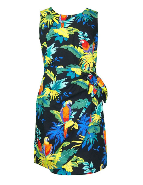 Parrots Paradise Short Sarong Dress 100% Cotton Fabric Back Zipper Tummy Concealing Front Panel Waist Adjustable Side Tie Color: Black Sizes: XS-2XL Made in Hawaii - USA