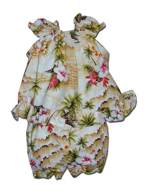 Infant Baby Clothes Set Hookipa Hibiscus Includes a Comfortable Top and Matching Bottom Diaper Cover 100% Cotton Fabric Top with Elastic Neckline Shorts with Elastic Waist Band Color: Maize Sizes: 6 - 24 months Made in Hawaii - USA